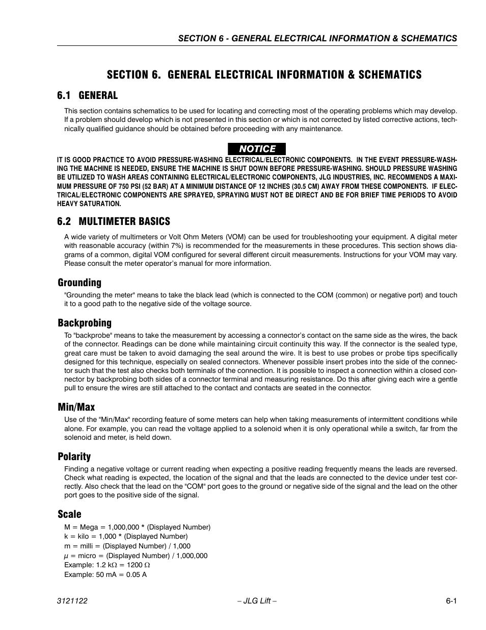 1 General 2 Multimeter Basics Grounding Jlg M4069 Ansi Service