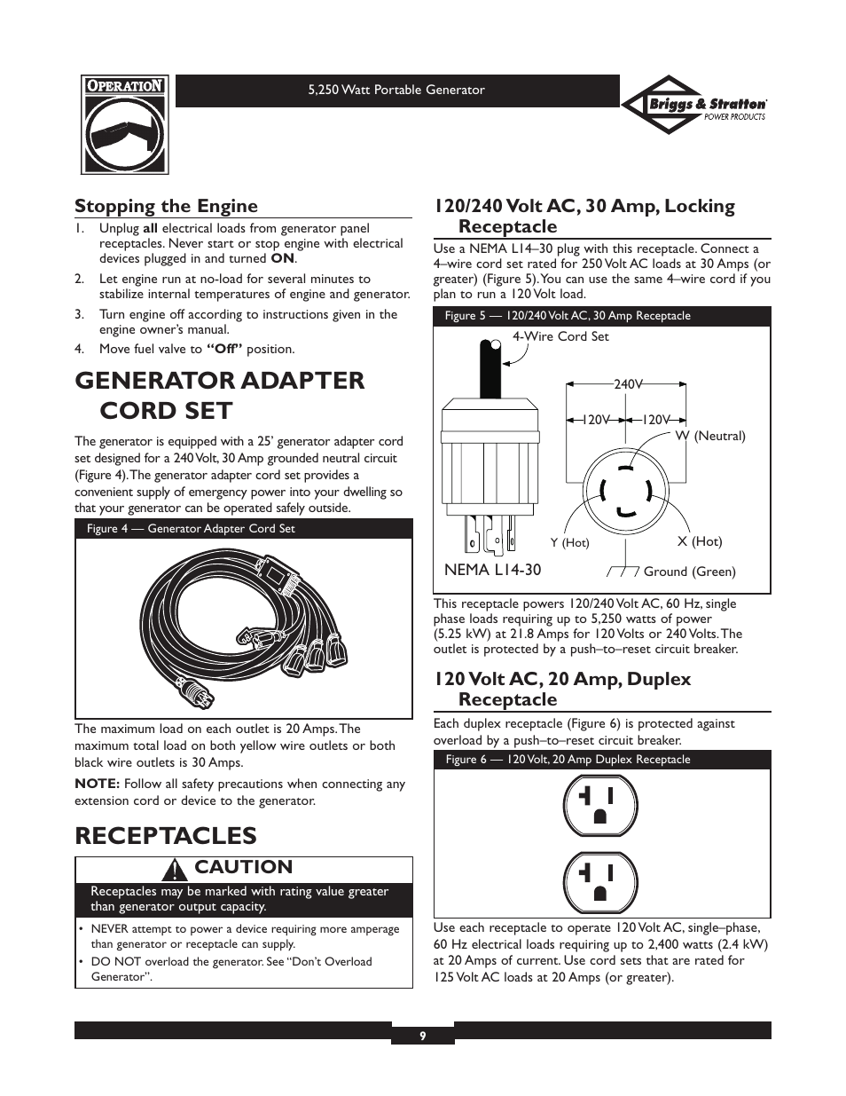 Generator Adapter Cord Set Receptacles Stopping The Engine 6 Volt Wiring Diagram For 9n Briggs Stratton 30204 User Manual Page 9 28
