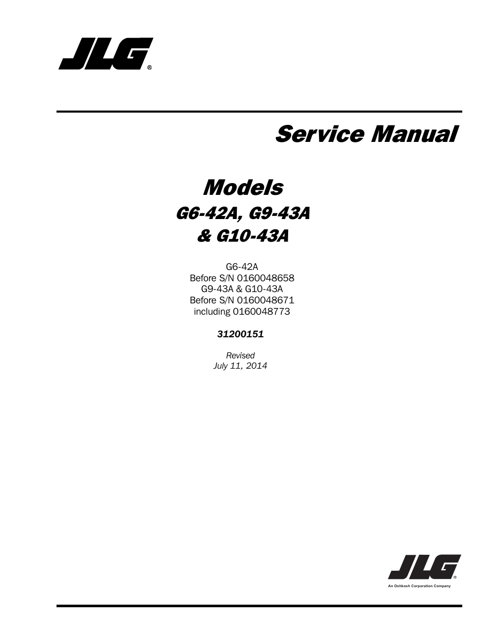 jlg g6-42a service manual user manual | 246 pages | also for: g10-43a  service manual, g9-43a service manual