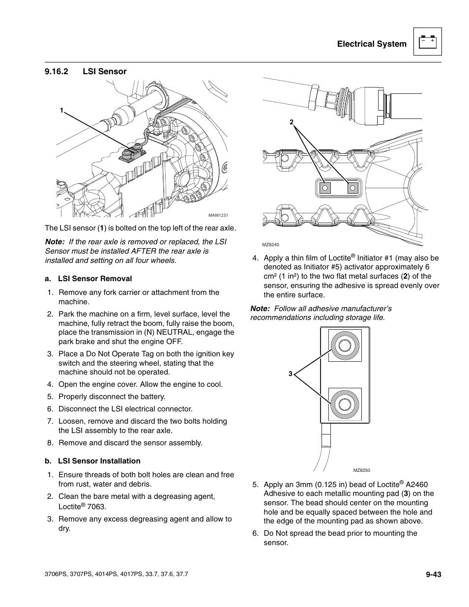 2 lsi sensor, Lsi sensor | JLG 4017PS Service Manual User