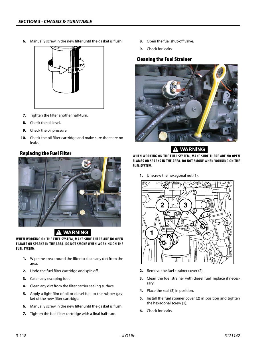Replacing the fuel filter, Cleaning the fuel strainer | JLG 1350SJP Service  Manual User Manual | Page 164 / 554