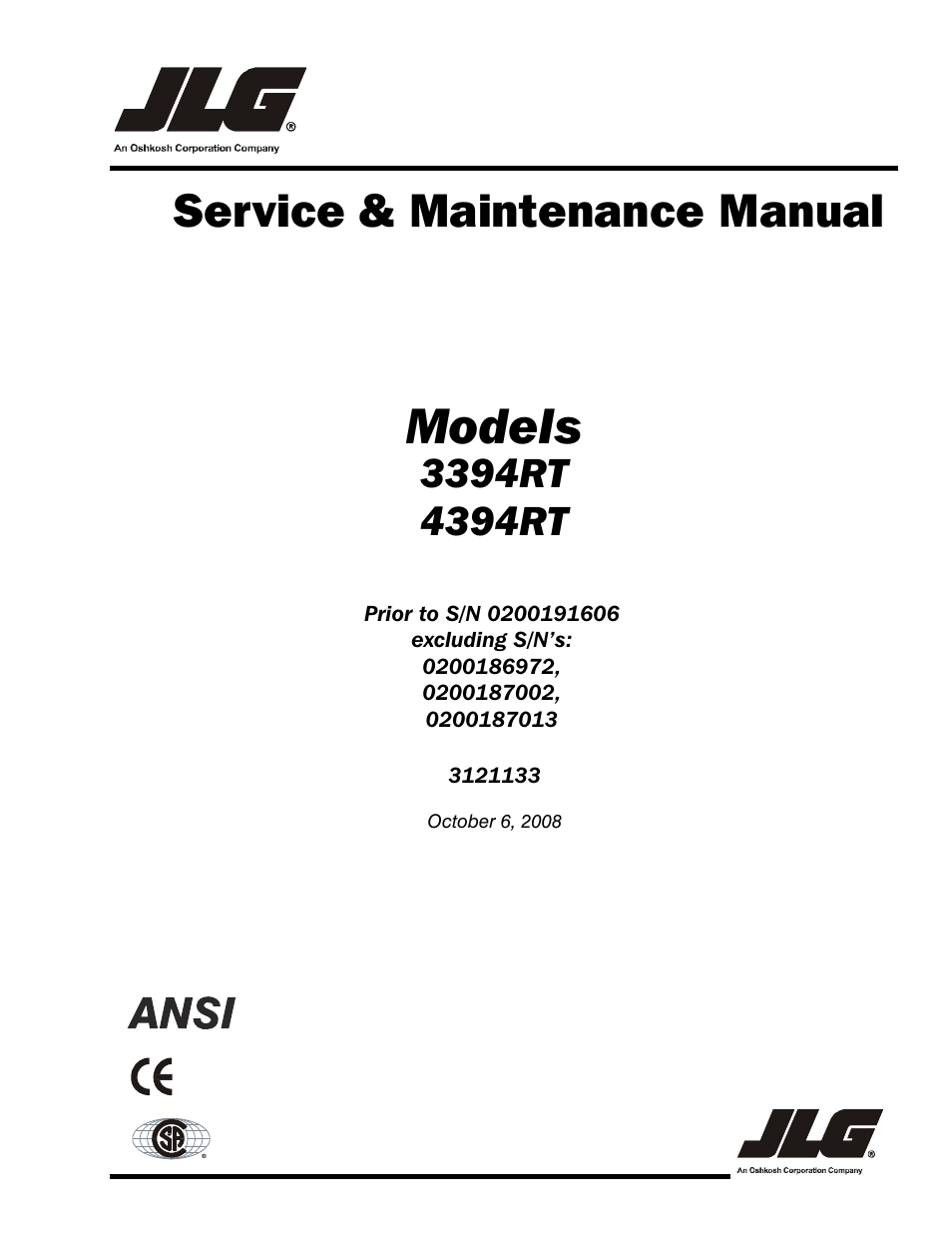 JLG 4394RT Service Manual User Manual   228 pages   Also for: 3394RT  Service Manual