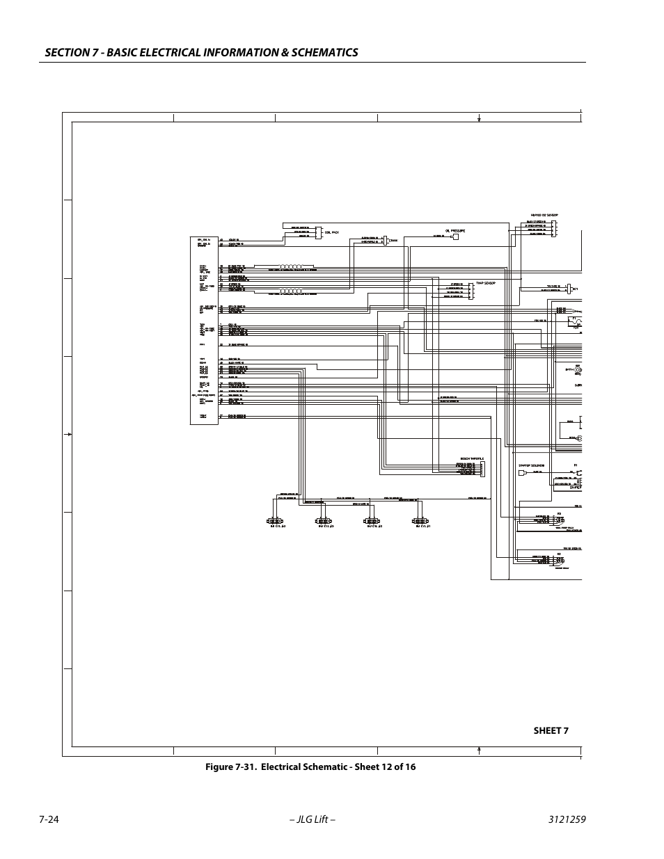 electrical schematic - sheet 12 of 16 -24, gm engine harness | jlg 340aj  service manual user manual | page 338 / 348