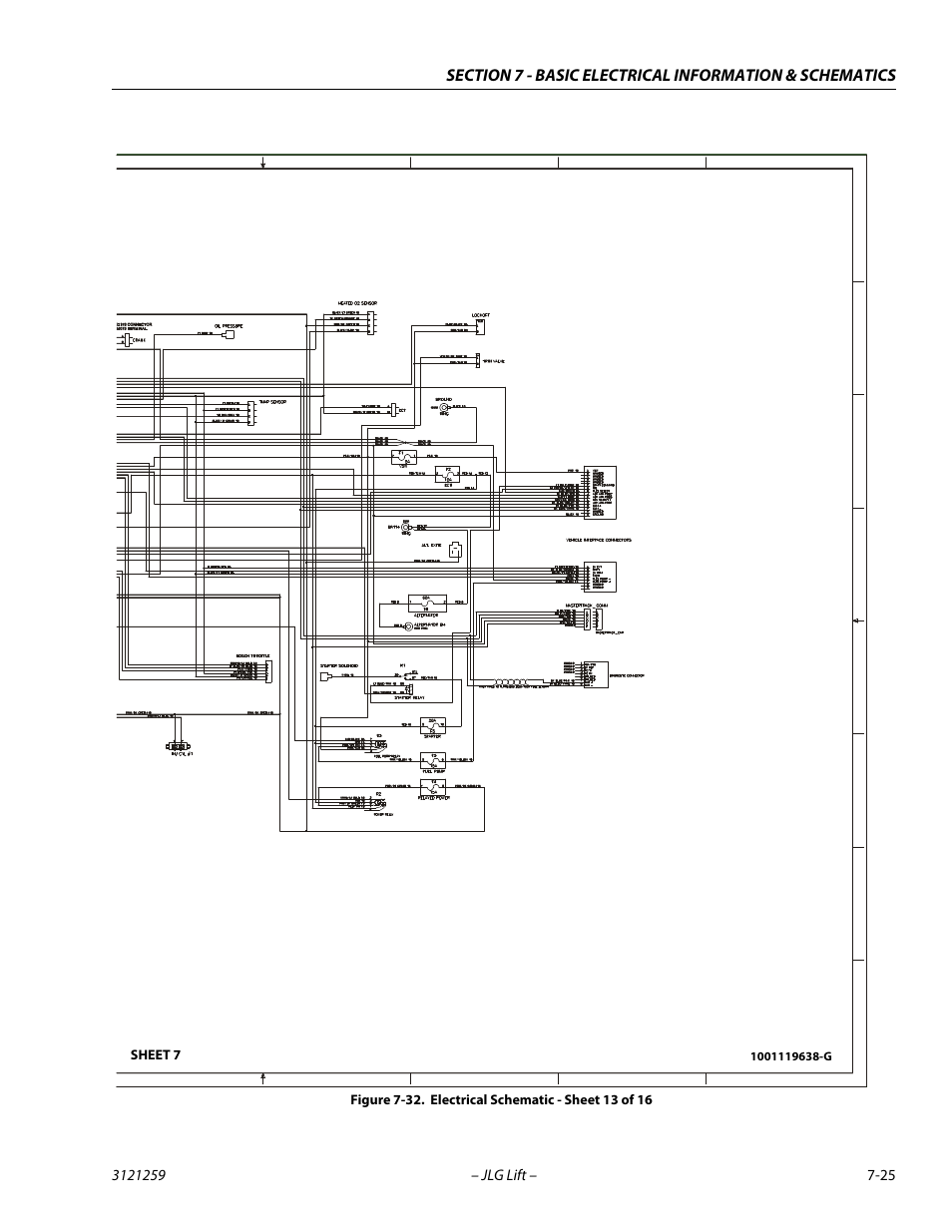 Electrical schematic - sheet 13 of 16 -25, Gm engine harness, Sheet 7 | JLG  340AJ Service Manual User Manual | Page 339 / 348