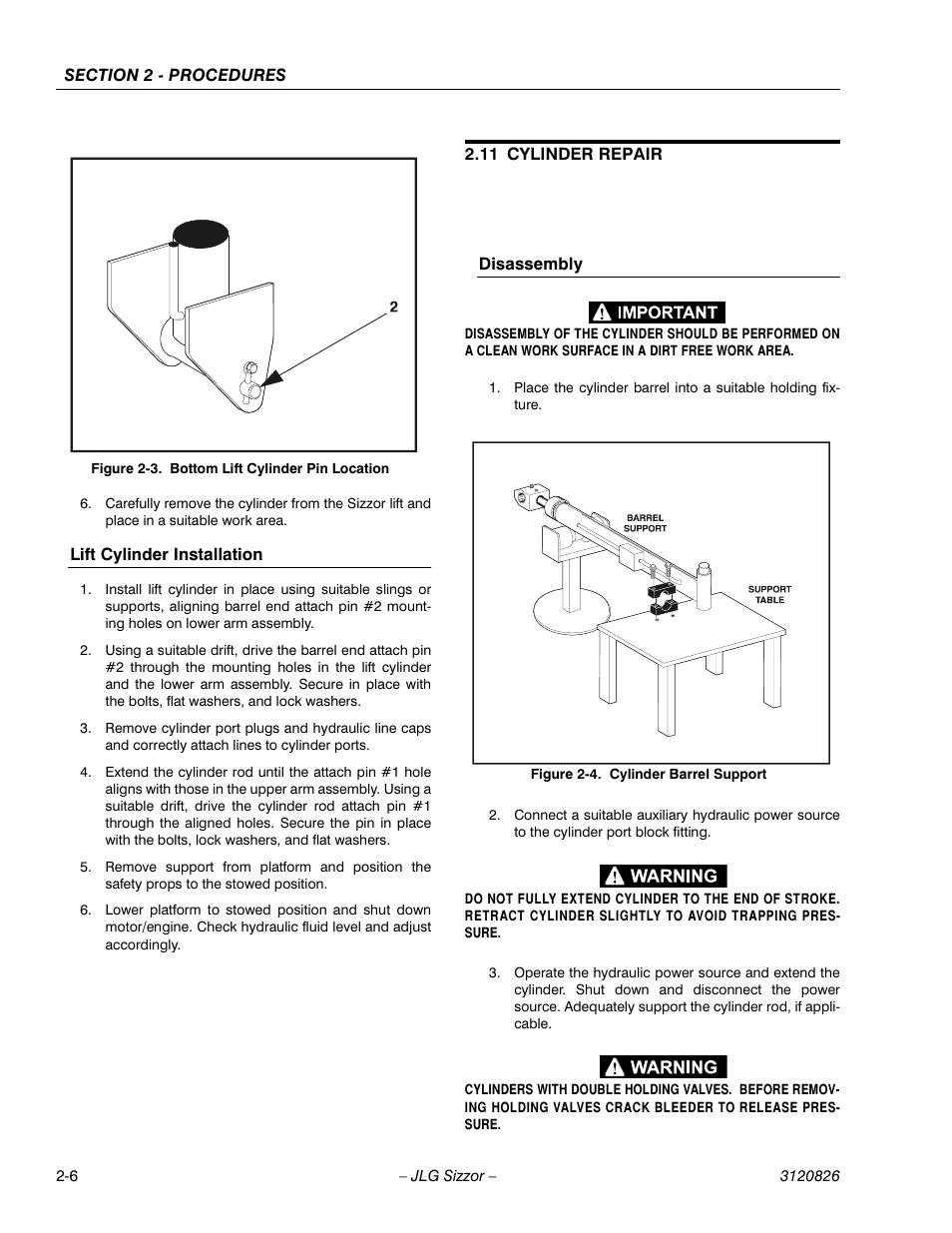 lift cylinder installation 11 cylinder repair disassembly jlg rh manualsdir com Owner's Manual Parts Manual
