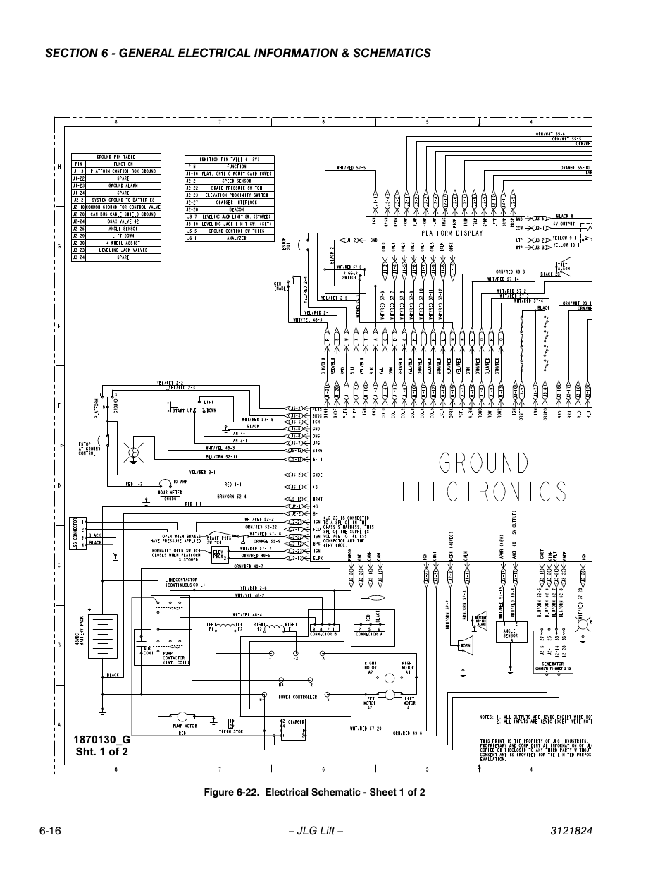 Electrical schematic - sheet 1 of 2 -16 | JLG M4069 Service ... on