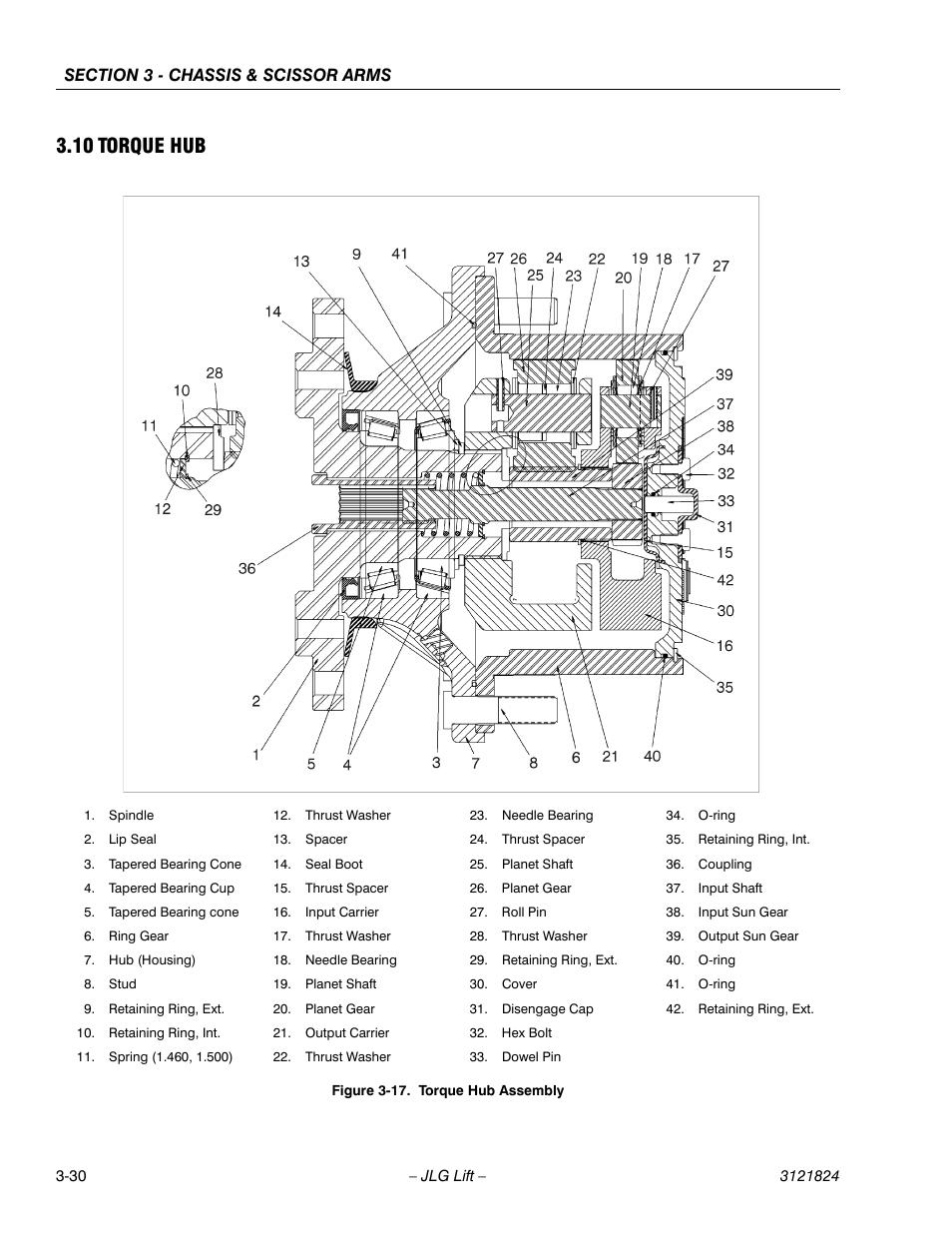 10 torque hub, Torque hub -30, Torque hub assembly -30   JLG