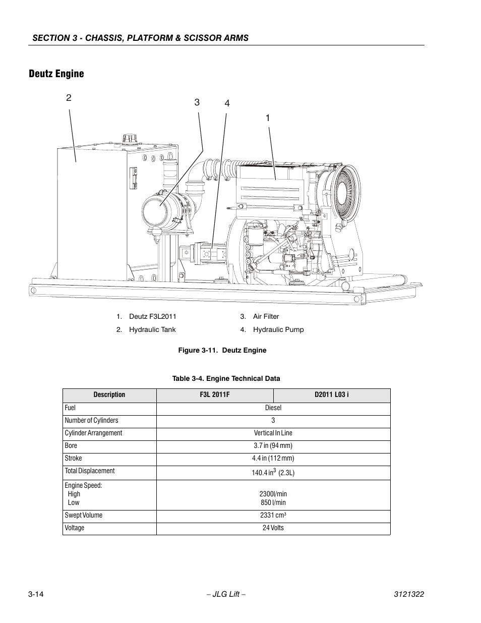 Deutz engine, Deutz engine -14, Engine technical data -14 | JLG 67SL Service  Manual User Manual | Page 46 / 152