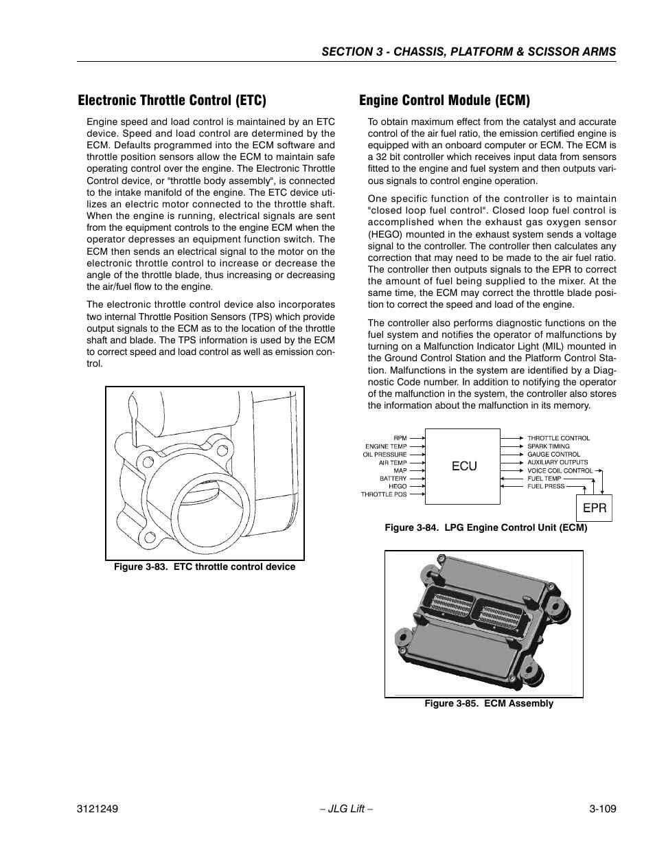 Electronic throttle control (etc), Engine control module (ecm), Etc throttle