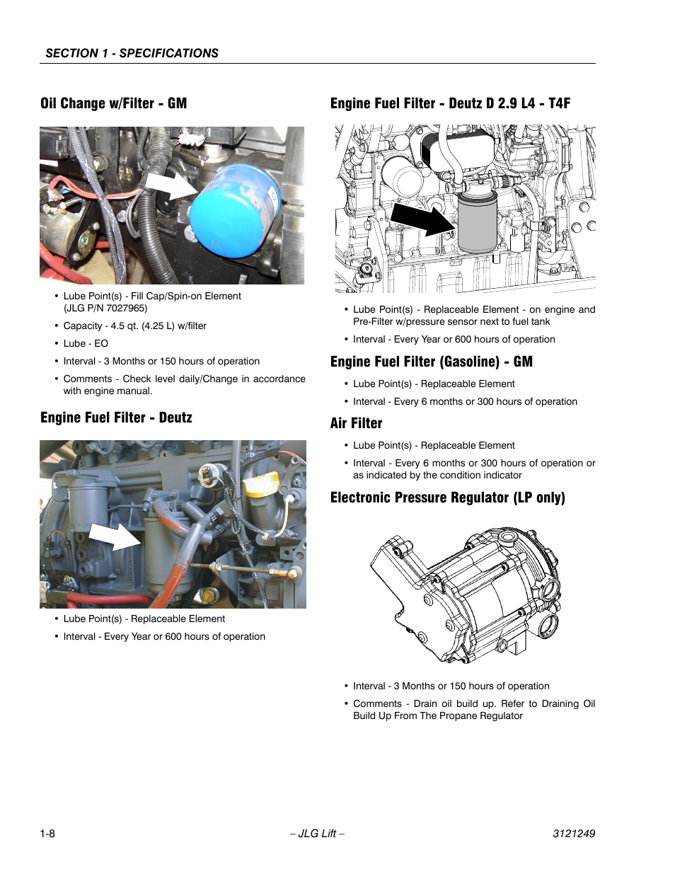 Oil change w/filter - gm, Engine fuel filter - deutz, Engine fuel filter -  deutz d 2.9 l4 - t4f | JLG 4394RT Service Manual User Manual | Page 18 / 268