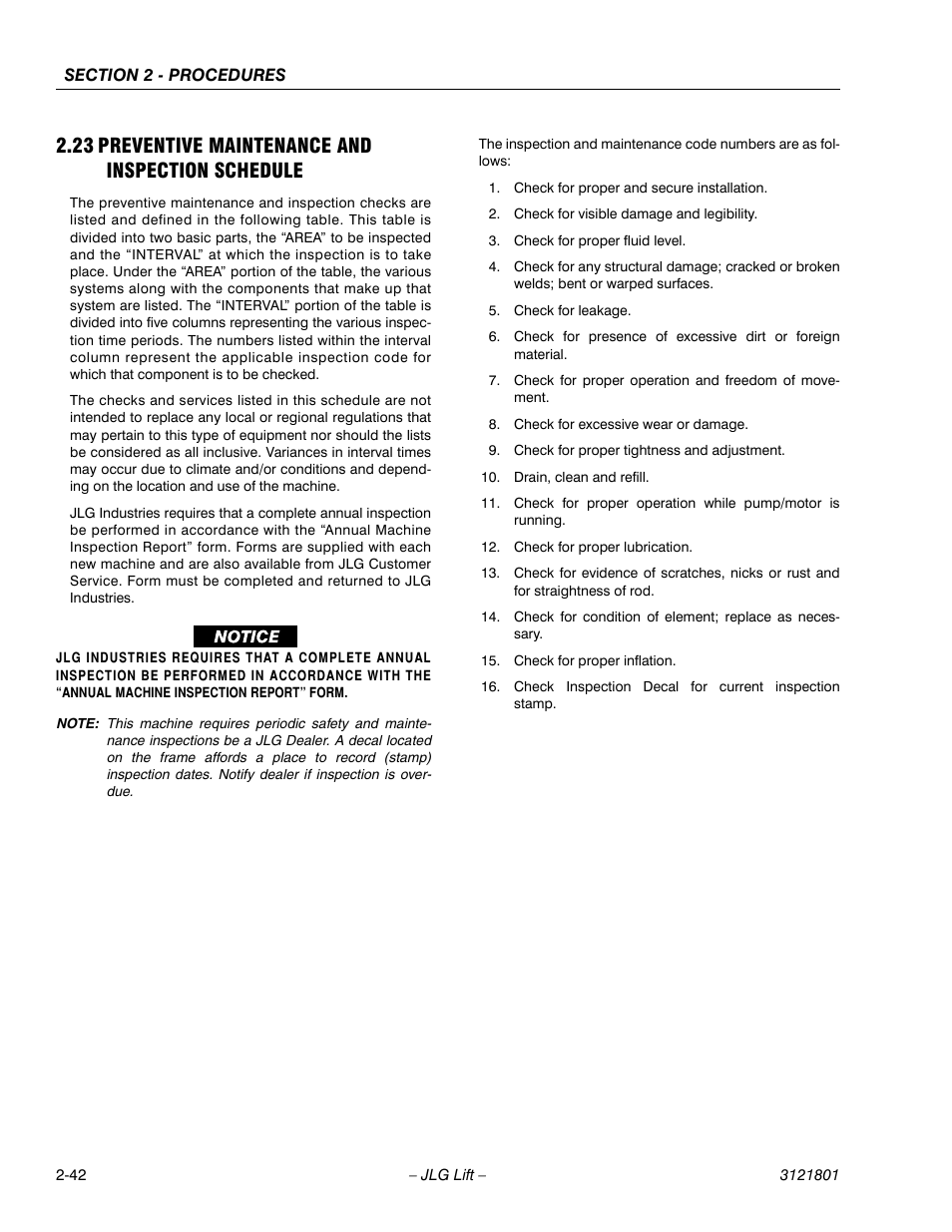 23 Preventive Maintenance And Inspection Schedule