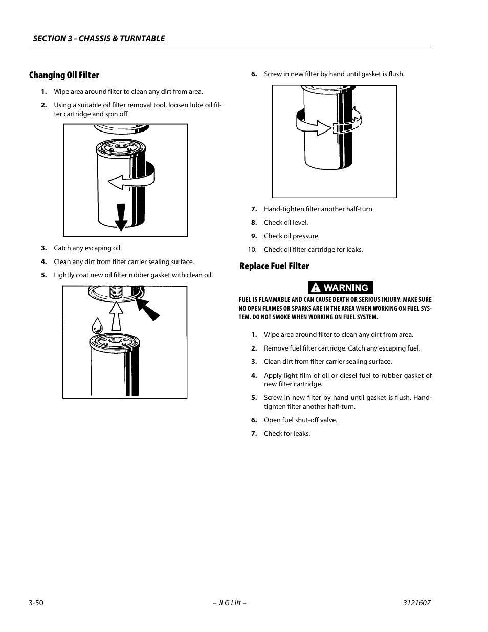 Changing Oil Filter Replace Fuel 50 6 7 Powerstroke Jlg 600sc 660sjc Service Manual User Page 86 270