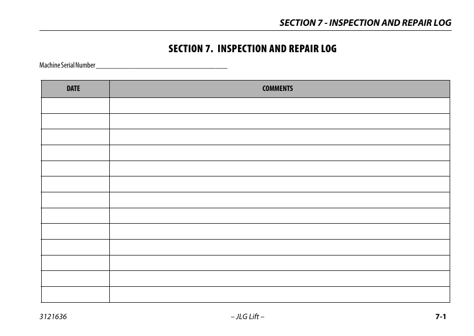 Section 7  Inspection And Repair Log  Section