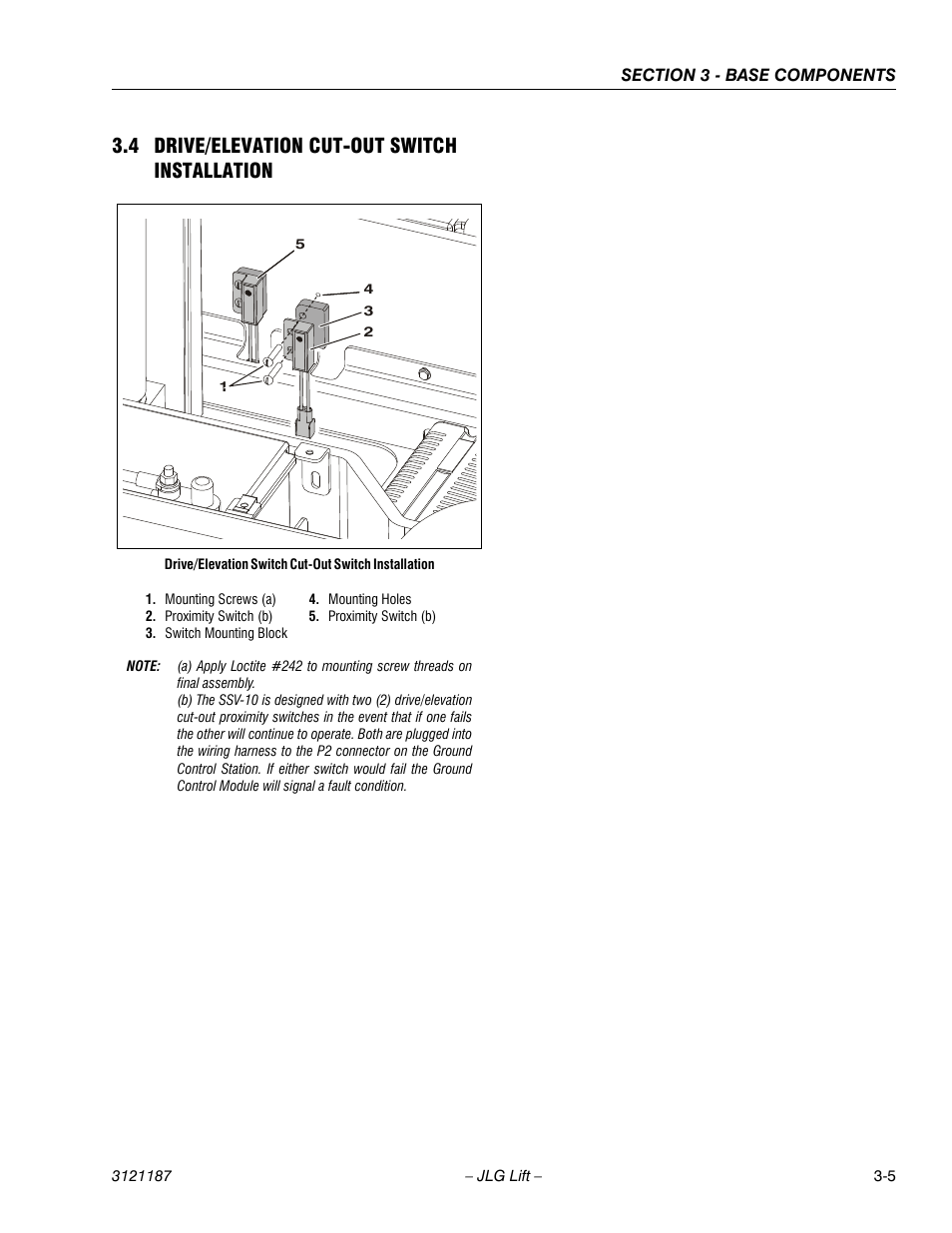 4 Drive Elevation Cut Out Switch Installation Wiring 3 Switches 5 Jlg Ssv10 Service Manual User Page 33 136