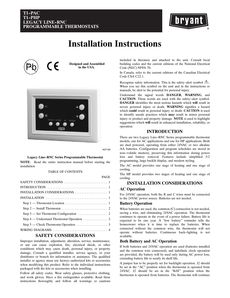 Bryant Thermostat Wiring Diagram T1 Data Hvac Sequencer Php User Manual 8 Pages Also For Pac Electric Heat