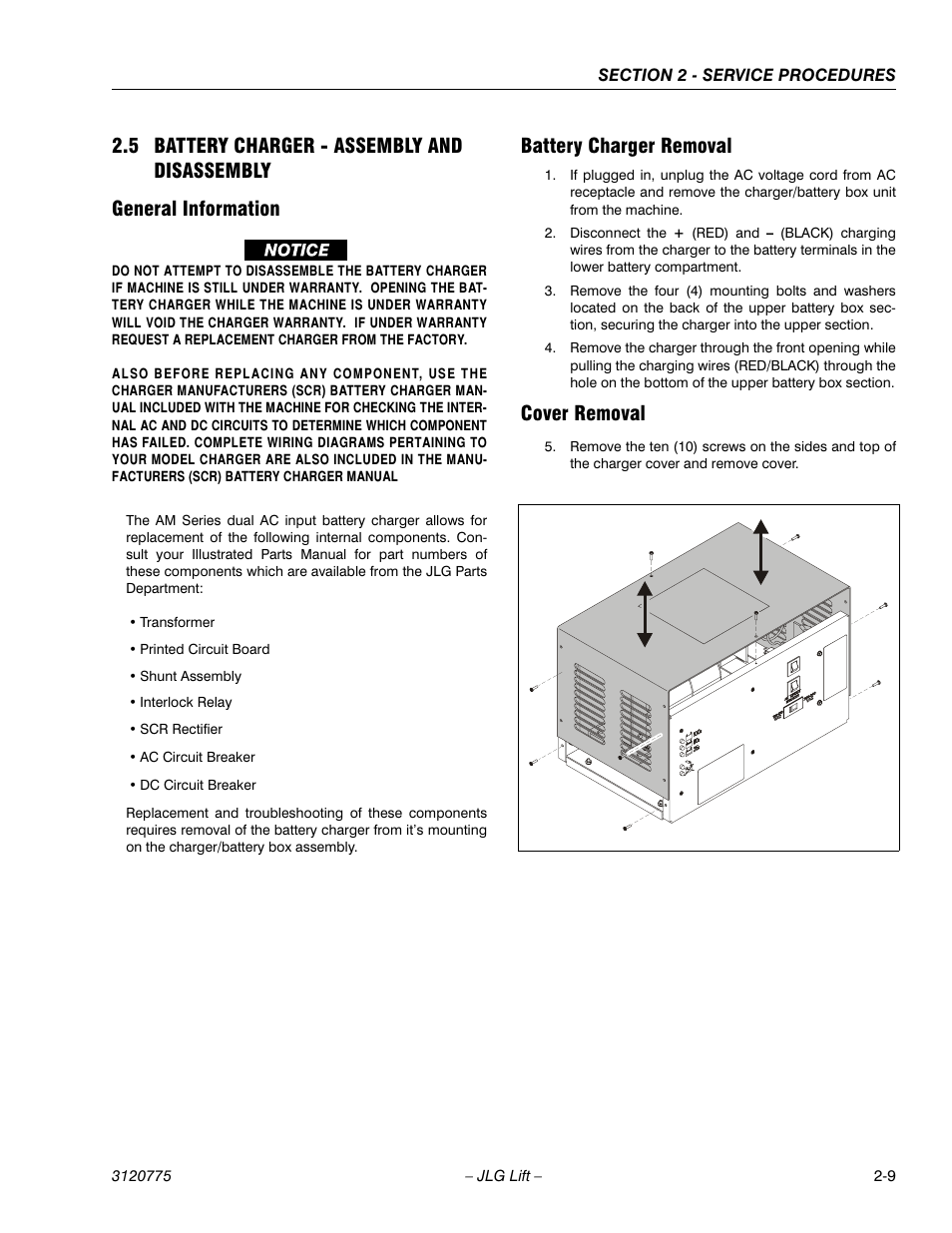 5 Battery Charger Assembly And Disassembly General Information Ac Circuit Breaker Using Scr Removal Jlg 15sp Service Manual User Page 23 62