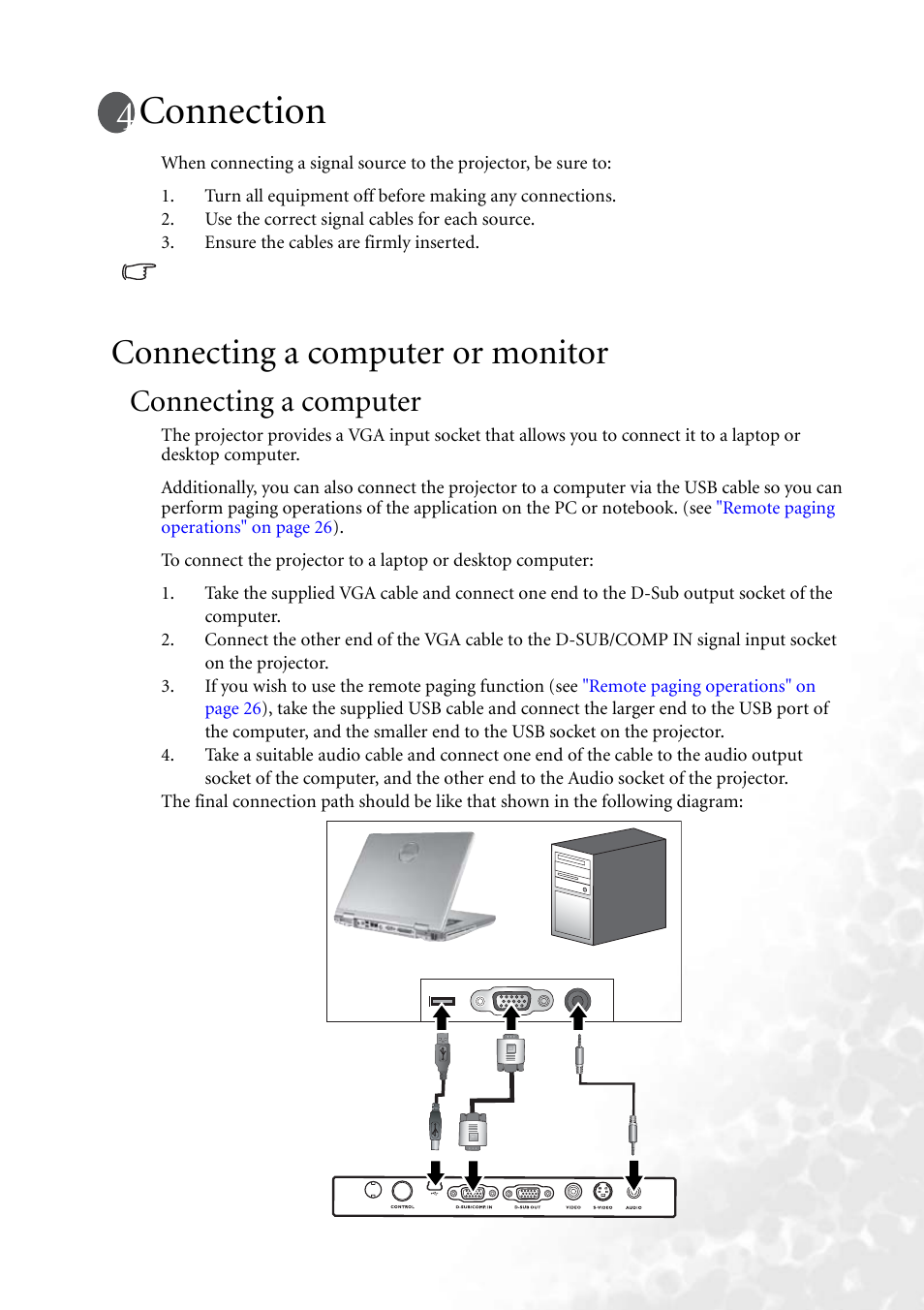 connection connecting a computer or monitor connecting a computer rh manualsdir com Projector BenQ MP610 MP610 Printer