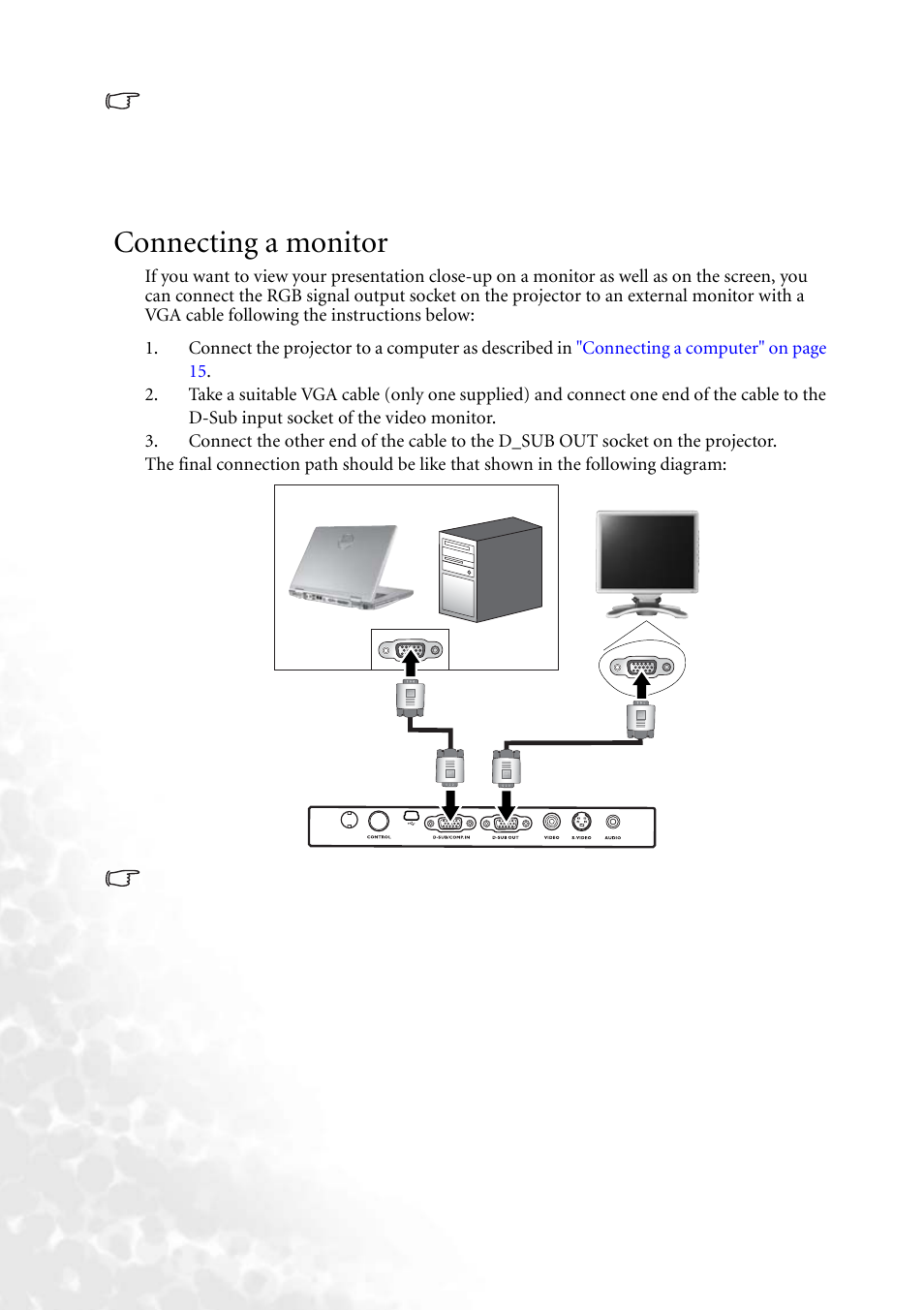 connecting a monitor benq mp610 user manual page 22 55 rh manualsdir com benq mp610 manuale italiano benq mp610 service manual