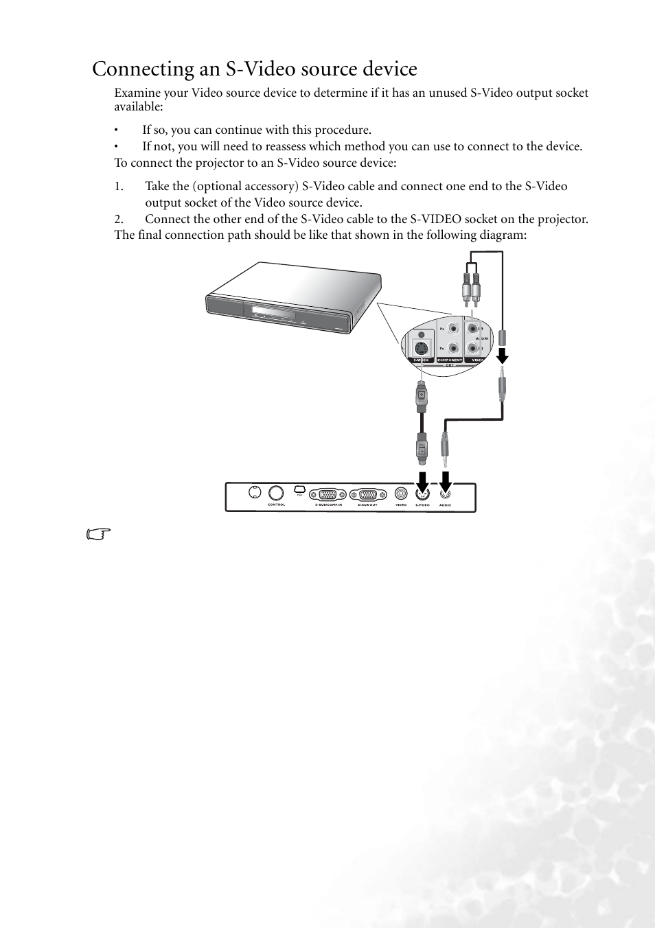 connecting an s video source device benq mp610 user manual page rh manualsdir com Canon MP610 Ink Canon MP610