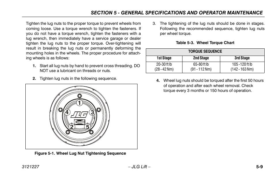Wheel Lug Nut Ening Sequence 9 Torque Chart Jlg 10msp