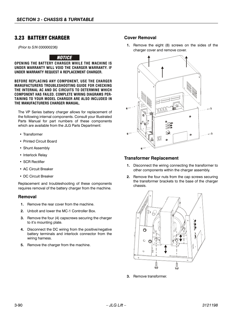 23 battery charger, removal, cover removal | jlg t350 service manual user  manual | page 126 / 230
