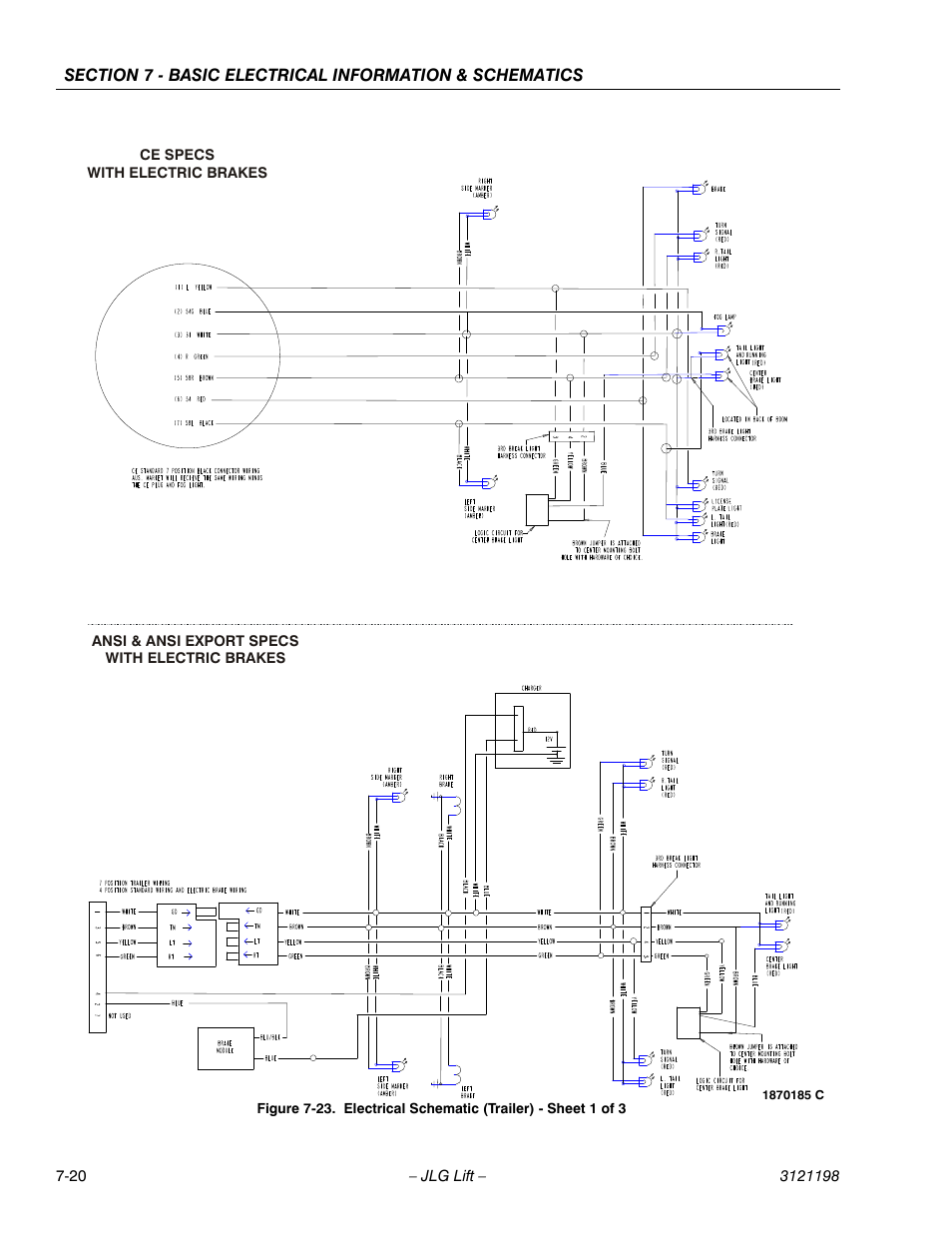 Electrical schematic (trailer) - sheet 1 of 3 -20 | JLG T350 ... on jlg lift fuel tank, genie wiring diagram, jlg lift fan belt, komatsu wiring diagram, john deere wiring diagram, jlg lift spark plug,
