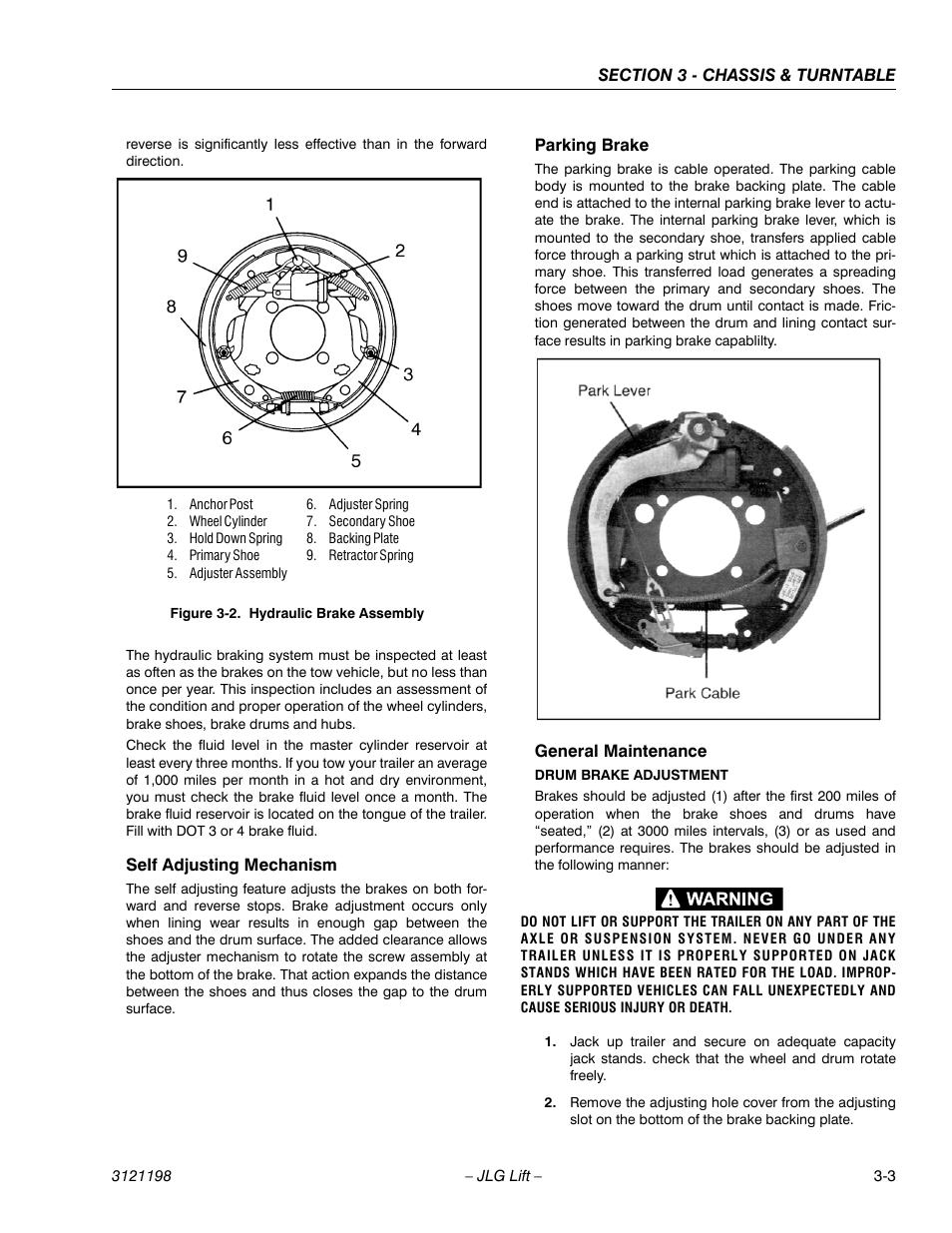 Self Adjusting Mechanism  Parking Brake  General