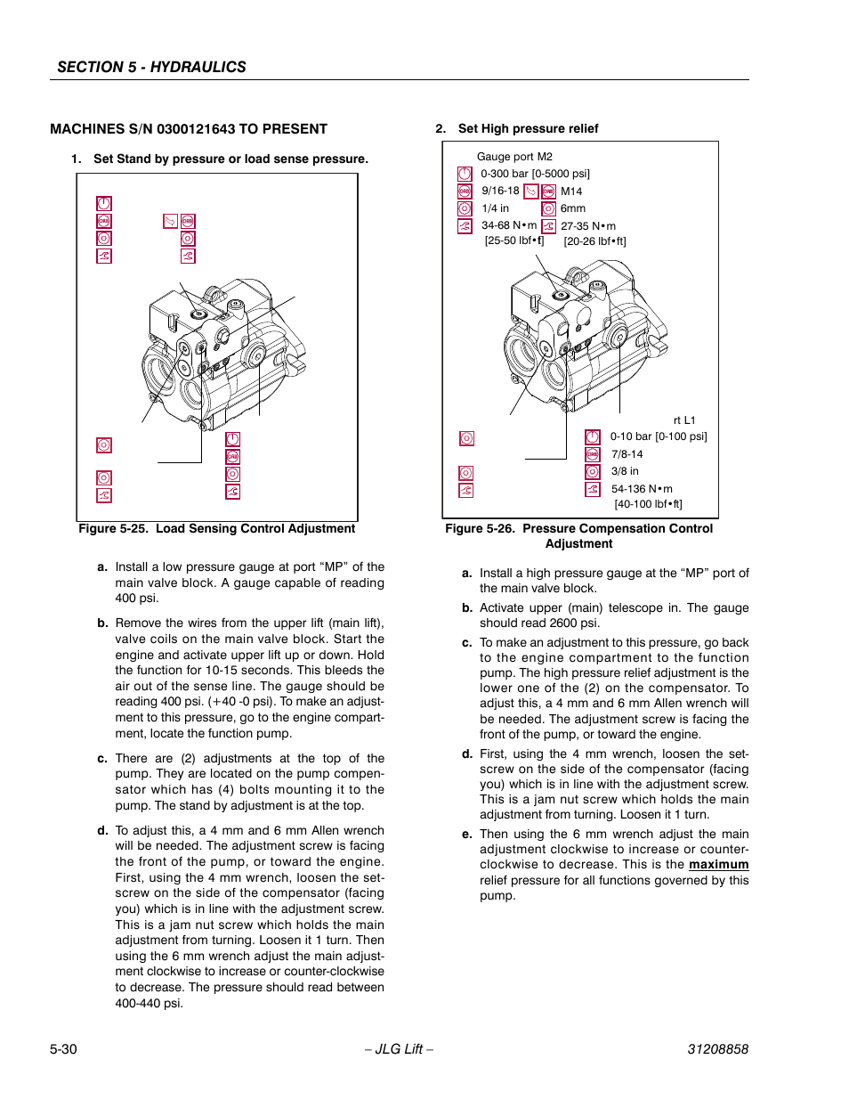 M14 manual load sensing control adjustment 30 pressure compensation control adjustment 30 jlg 800a aj service manual user fandeluxe Gallery
