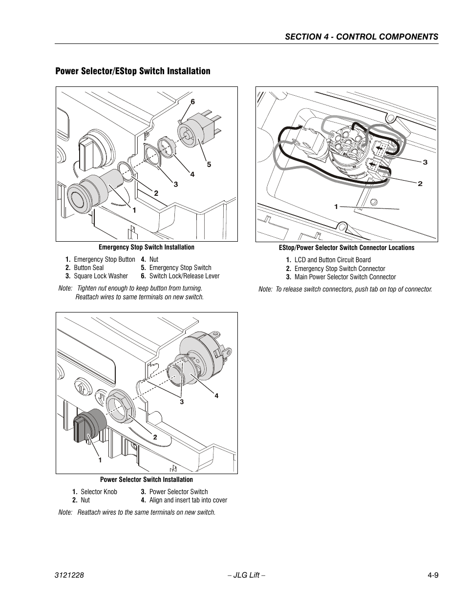 Power Selector Estop Switch Installation 2 Circuit Rotary Wiring Diagram 9 Jlg 10msp Service Manual User Page 73 154
