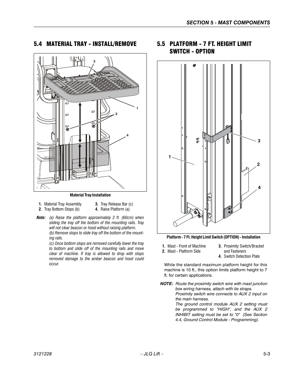 4 Material Tray Install Remove 5 Platform 7 Ft Height Limit Switch Wiring Diagram View Proximity Option Jlg 10msp Service Manual User Page 85 154