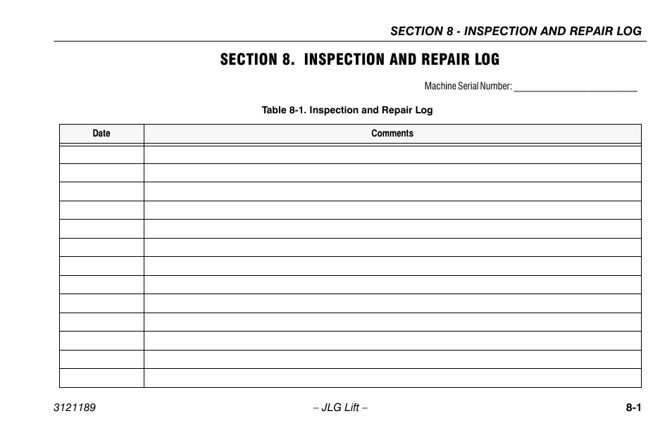 Section 8  Inspection And Repair Log  Section