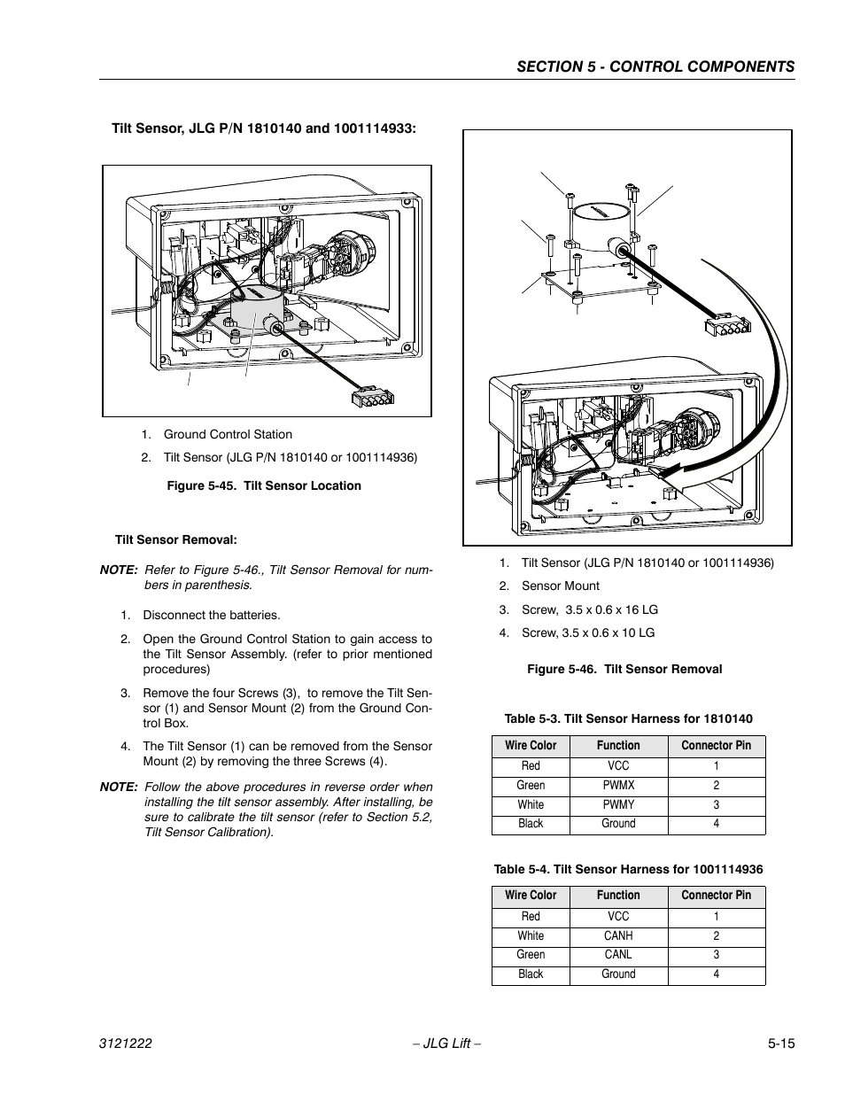 Tilt Sensor Location -15  Tilt Sensor Removal