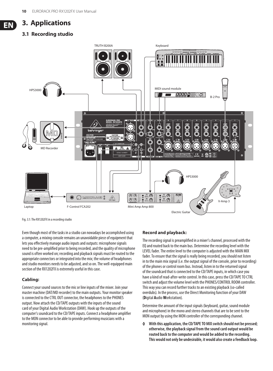 applications 1 recording studio behringer eurorack pro rx1202fx rh manualsdir com Behringer 1202FX Mixer Behringer Eurorack Pro