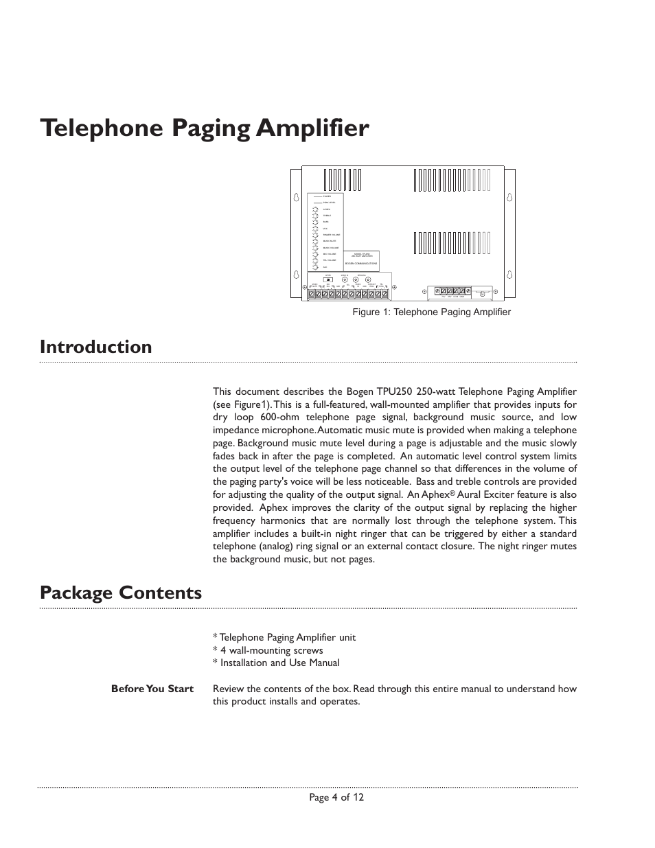 Telephone paging amplifier, Introduction, Package contents   Page 4 of 12,  Figure 1