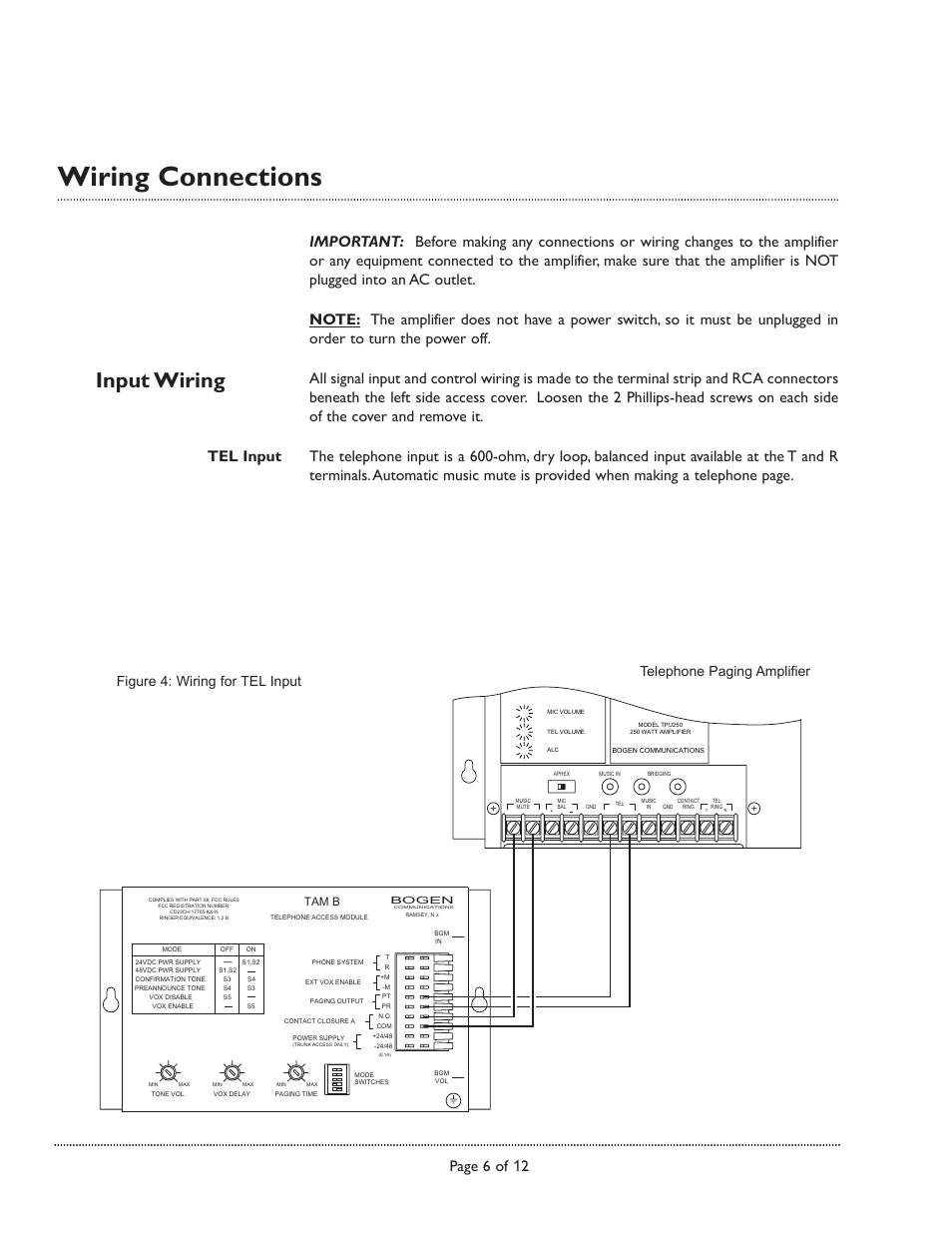 Wiring connections, Input wiring, Page 6 of 12 | Bogen TPU250 User Manual |  Page 6 / 12