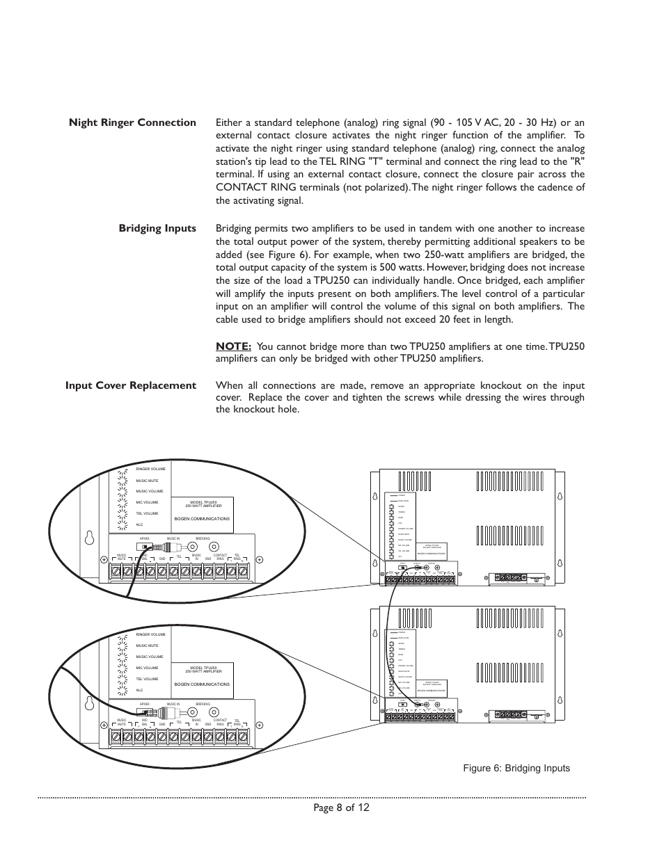Page 8 of 12, Figure 6: bridging inputs   Bogen TPU250 User Manual  
