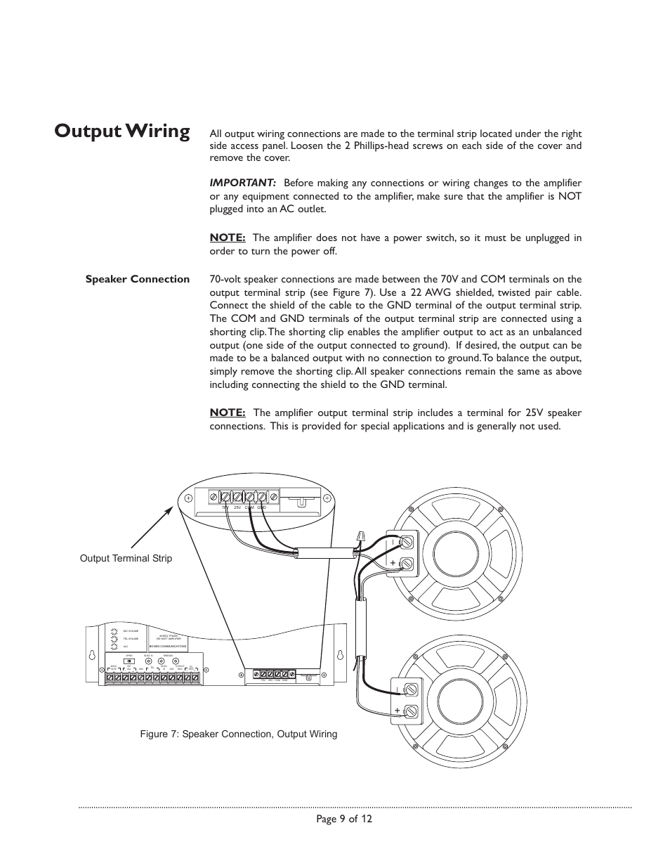 25v Speaker Wiring Diagram Electrical Diagrams Connection Output Bogen Tpu250 User Manual Page 9 12 4 Ohm Guitar