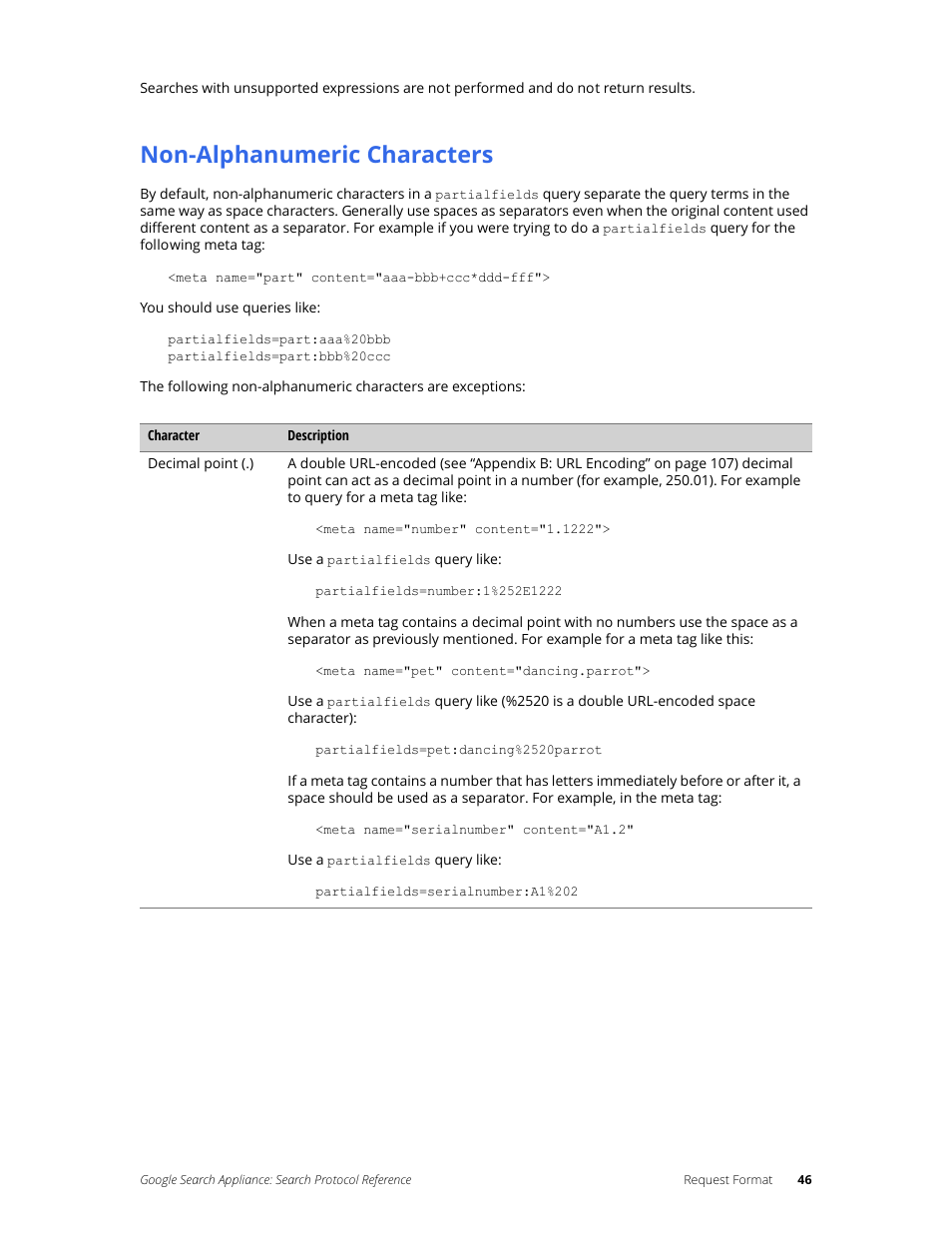 Non-alphanumeric characters | Google Search Appliance Protocol Reference User  Manual | Page 46 /