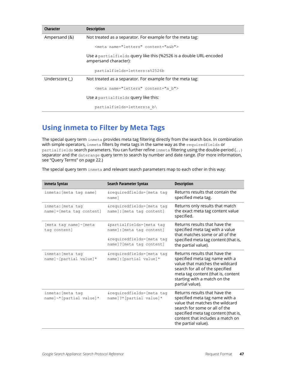 using inmeta to filter by meta tags google search appliance rh manualsdir com google search appliance user manual Home Appliance ManualsOnline
