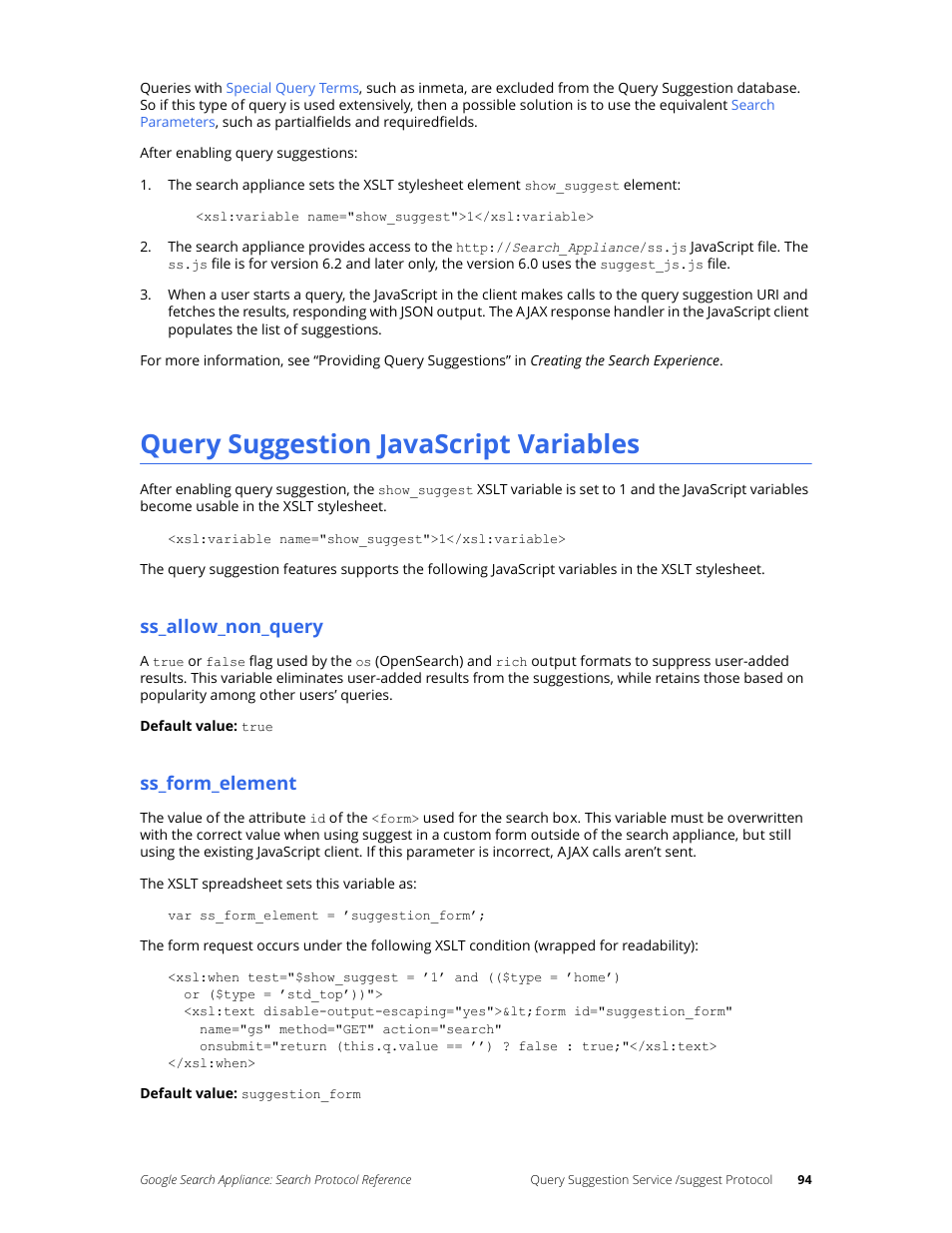 Query suggestion javascript variables, Ss_allow_non_query