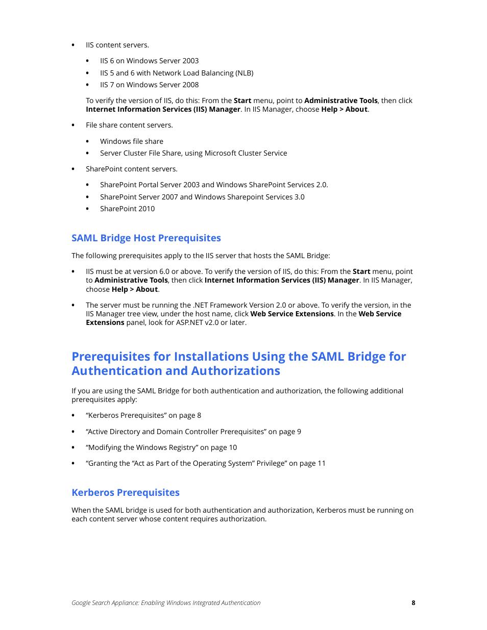 Saml bridge host prerequisites, Kerberos prerequisites
