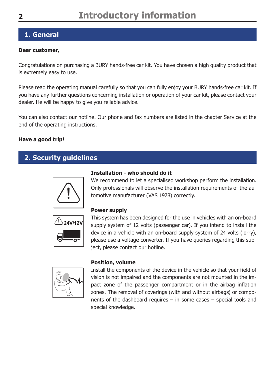 Introductory information, general, security guidelines | bury cc.