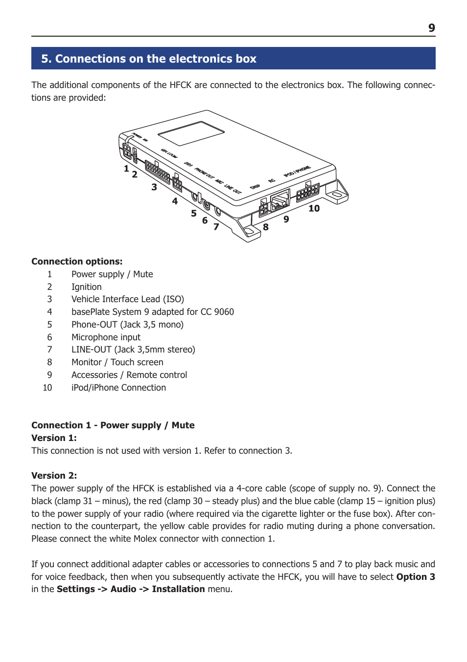 Connections On The Electronics Box Bury Cc 9060 Music User Manual Iphone 5 Cord Wiring Diagram Page 9 44