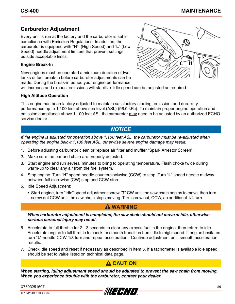 Carburetor adjustment, Cs-400 maintenance | Echo CS-400 User