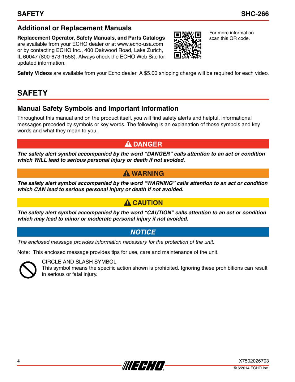 Additional Or Replacement Manuals Safety Manual Safety Symbols And