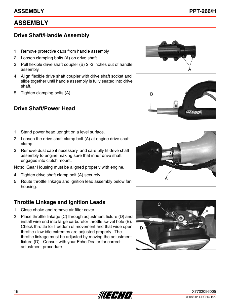 assembly drive shaft handle assembly drive shaft power head echo
