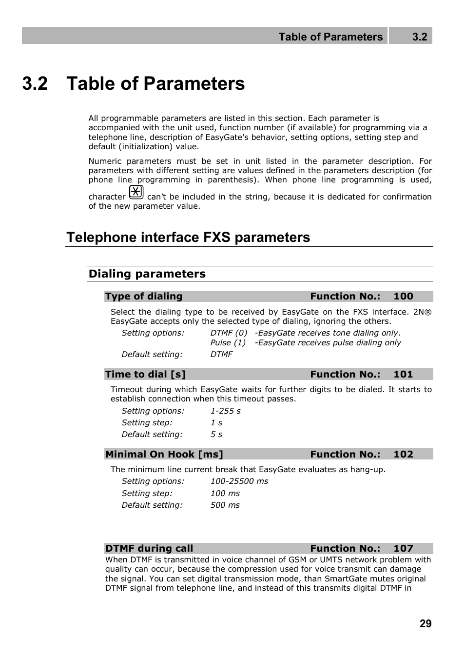 2 Table Of Parameters Telephone Interface Fxs Analog Signal Transmission Over Lines 32 2n Analogue Gsm Gateway Easygate Pro Manual 1749 V103 User