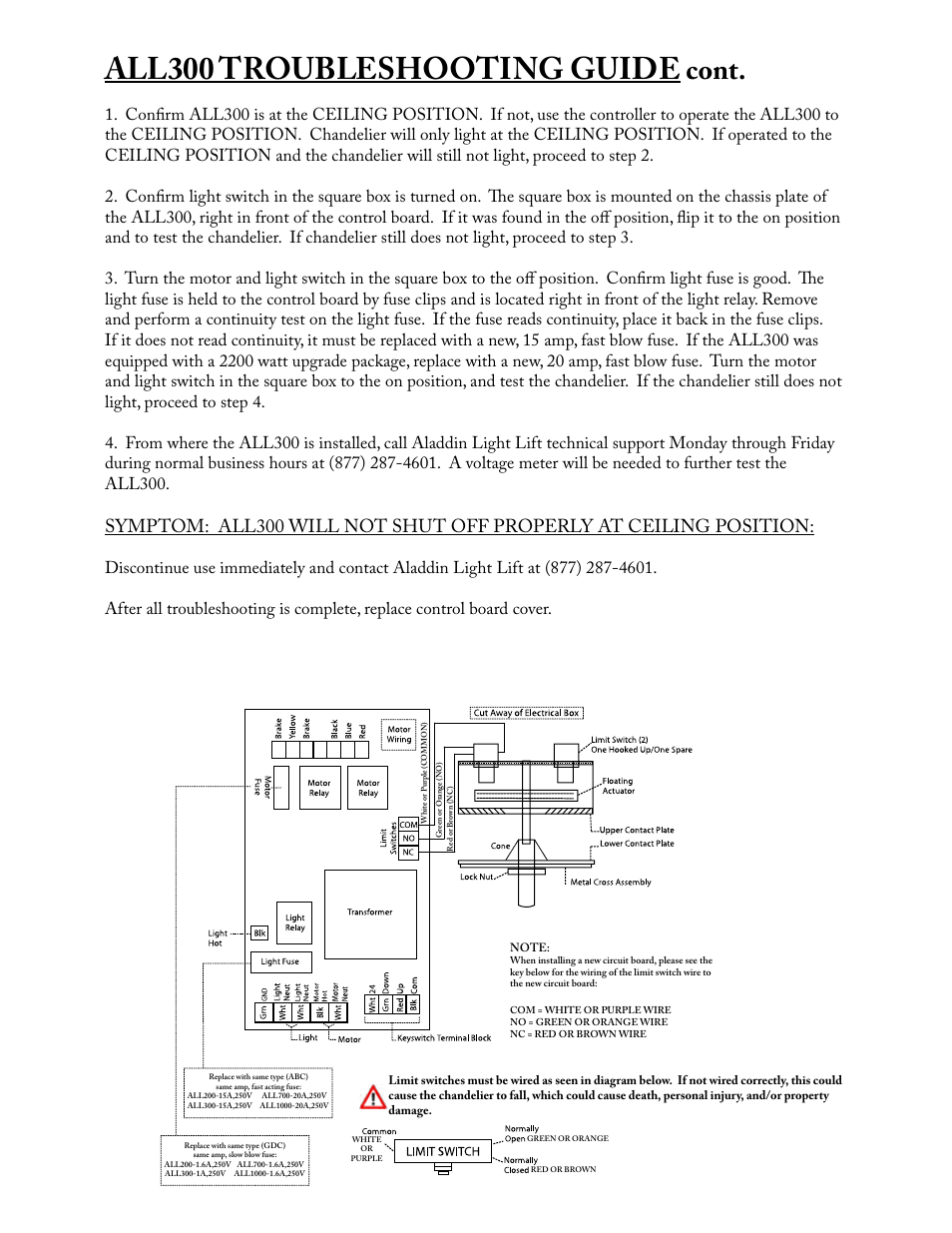 All300 Troubleshooting Guide Cont Aladdin Light Lift Cm Wiring Board User Manual Page 13 14