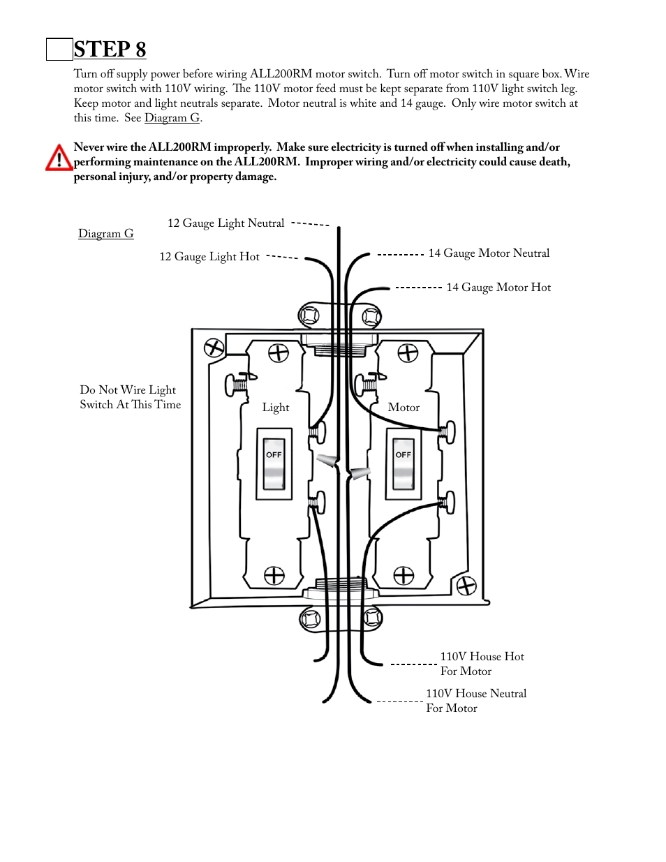 Step 8 Aladdin Light Lift All200rm Cm User Manual Page 7 22 House Wiring 110v