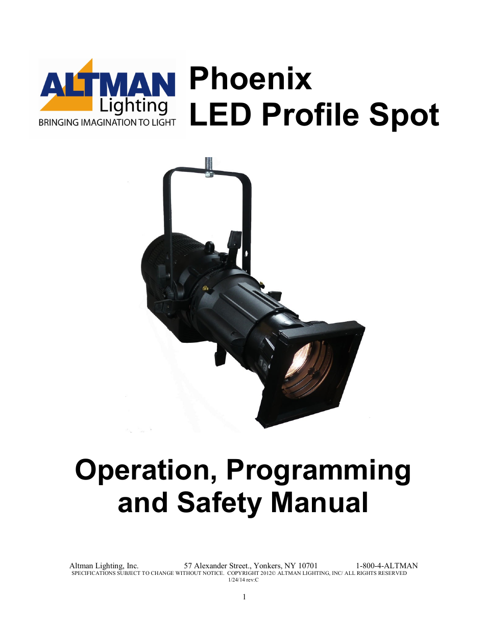 Altman Lighting Phoenix Led Profile Spot User Manual 12 Pages